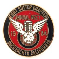 ".""ANTIQUE MOTORCYCLE CLUB OF AMERICA"" 1984 FORT SUTTER CHAPTER, SACRAMENTO BADGE"