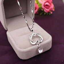 Women 925 Silver Double Heart Zircon Crystal Pendant Chain Necklace Jewelry Gift