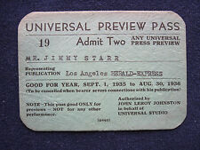 ORIGINAL 1935-36 UNIVERSAL STUDIO PREVIEW PASS - Hollywood Columnist JIMMY STARR