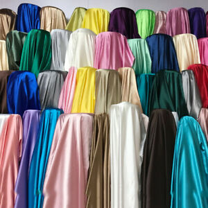 """Luxury Glossy Charmeuse Silk Satin Weave Bridal Dress Polyester Fabric 58"""" Meter"""