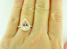 3.03ct 14k Rose Gold Ladies Natural Pear shape Morganite & Diamond Ring Cocktail