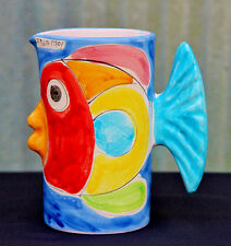 Vintage LA MUSA Italian Art Pottery Tropical FISH Figural Water Pitcher Vase