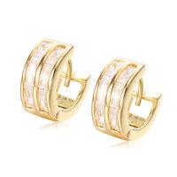 Crystal Hoop Huggie Earrings 18K GP Yellow Gold Filled  Earrings Fashion