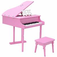 Children 30 key Toy Grand Baby Piano w/ Kids Bench Wood Pink New