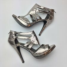 Chinese Laundry Strappy High Heels Size 8M Metallic Silver Open Toe Sandals Zip