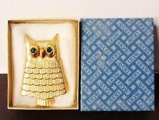 EUC Vintage 60s Avon Signed Jeweled Owl Pin Brooch Perfume Glace Original Box