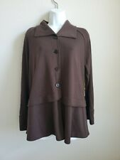 $280 NWT Blanque Women's Brown Button Down Jacket Size 1 Rayon Blend made in USA