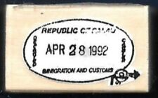 REPUBLIC OF Immigration Customs APR 28 1992 OVAL Seal wood CRAFT Rubber Stamp