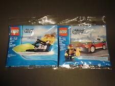 LEGO City Set 30015 Jet Ski and 30221 Fire Chief Car - NIP