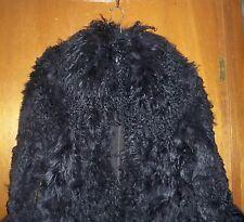 ZARA Mongolian Fur Black Winter Coat Absolutely Stunning! -Size L  **RARE*