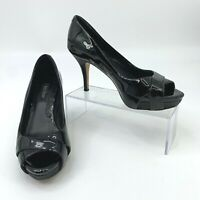 White House Black Market Black Patent Leather Pumps Women's Size 6 M Peep Toe *
