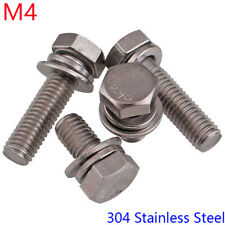 M4 - 0.7 304 Stainless Steel SEM Hex Head Bolts+ Flat / Spring Washers Screws
