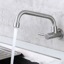 Brushed Nickel Bathroom Sink Faucet 0ne Hole Basin Tap Wall Mount Cold Water NEW