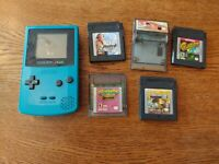 Nintendo Gameboy Color Teal Aqua CGB-001 + 5 Games Tested Works except sounds