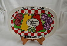 """DAD'S FIXIN' TO COOK Father's Day Platter BBQ Plate 11.5"""" Laurie Veasey NEW"""