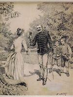 Ernest John Alexis VULLIEMIN (1862-1902) PEINTRE SUISSE dessin Swiss painter