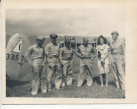 WWII aug 1945 USAAF Panama 4x5 Photo  officers, wife  at airplane