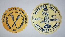 "LOT OF 2 NIAGARA FALLS LACROSSE PATCHES, 1980 BLOSSOM FESTIVAL 3.5"" +1980 OPTIMI"