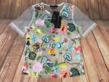 BNWT New Look White Multi-colored Floral Embroiedered See Through Mesh Top 6 34