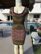 M MISSONI MULTI COLOR KNIT CAP SLEEVE STRETCH CASUAL DRESS Sz 38 MADE IN ITALY