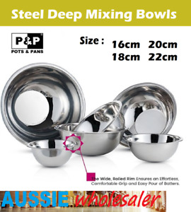 Au Stainless Steel Deep Mixing Bowl kitchen Outdoor Dining Picnic Camping Bowls