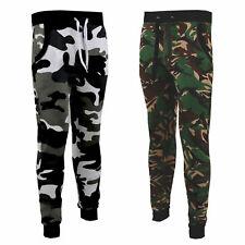 Men's Skinny Camouflage Joggers Camo Jogging Pants Fleece Army Gym Bottoms S-XXL