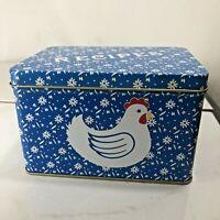 Vintage Recipe Tin Box Blue Chicken Hen Farmhouse Kitchen Cluck Cluck