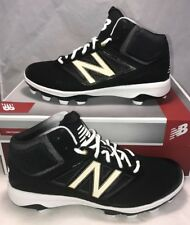 $90 New Balance Mens Size 12 Mid Debris Free Baseball Cleats Black Grey Molded