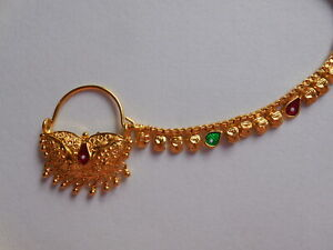 Indian Nose Nath Traditional Wedding Nose Ring Gold Plate Piercing Fashion Jewel