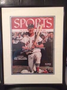 TED WILLIAMS SIGNED 8x11 COLOR PHOTO    VERY RARE    FRAMED+MATTED    UPPER DECK