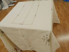 82x70 Vintage Antique ITALIAN EMBROIDERED HEMSTITCHED CREAM LINEN Tablecloth