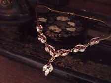 Vintage Clear & Amethyst Navette Crystal Drop Gold Plated Necklace