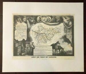 Victor Levasseur, Dépt. De Tarn et Garonne Vintage Map French District
