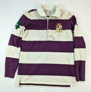 Ralph Lauren Rugby 2004 Size Small University Fit Maroon, Stripes, Crest, Collar