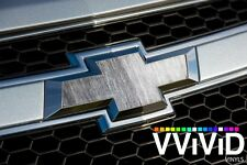 "VViViD Brushed Grey Steel Chevy Bowtie Logo Vinyl Wrap DIY 11.8"" x 4"" Sheets x2"