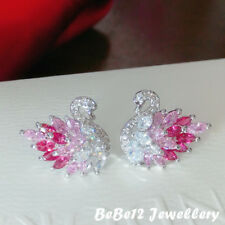 Gradient color/Pink Swan Stud Earring/Sterling silver post/E907
