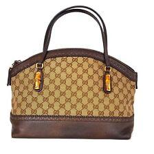 GUCCI borsa a spalla donna in tessuto pelle e bamboo 339002 marrone beige