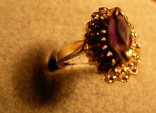 Ladies10k gold Cluster ring centered amethyst surrounded by diamonds  size 5