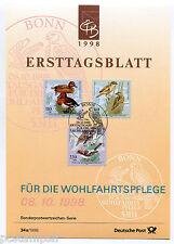 ALLEMAGNE FEDERALE 1998, OISEAUX, BIRDS, timbres 1848 1849 1850 DOCUMENT 1° JOUR