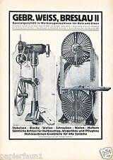 Werkzeugmaschinen Weiss Breslau XL Reklame 1923 Bandsäge Ständerbohrmaschine ad