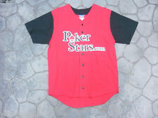 POKERSTARS.COM POKER STARS NEW BASEBALL JERSEY MEDIUM RED TEXAS HOLD 'EM Black