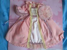 Barbie doll pink ball dress evening gown cloak world satin party set new hood