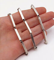 925 Sterling Silver - Vintage Smooth Hollow Bar Link Chain Necklace - N3040
