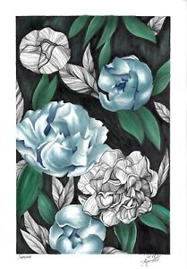 original drawing 17 x 25 cm 46PIr art samovar Mixed Media floral flowers Signed