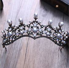 Antique Copper Opal Crystal Big Pearl Wedding Bridal Party Pageant Prom Crown