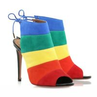 Women's Stiletto Candy Sandals Lace Up Suede Match Color Fish Mouth Shoes Chic