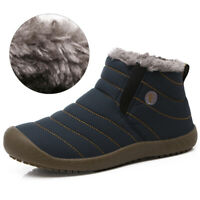 Mens Winter Snow Boots Slip On Fur Lined Thick Warm Hiking Casual Outdoor Shoes