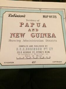 Robinson's Map No 315 Territory Of Papua And New Guinea Showing Admin Districts.
