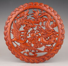 WOOD DECORATIVE PRINT ENGRAVING DRAGON PHOENIX HOLLOW WALL