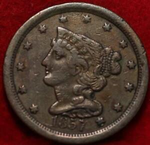 1857 Philadelphia Mint Copper Braided Hair Half Cent